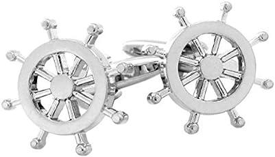 Peora Nautical Ships Wheel Silver Tone Cufflinks for Men Boys Corporate Gift