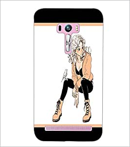 PrintDhaba Smart Girl D-1297 Back Case Cover for ASUS ZENFONE SELFIE ZD551KL (Multi-Coloured)