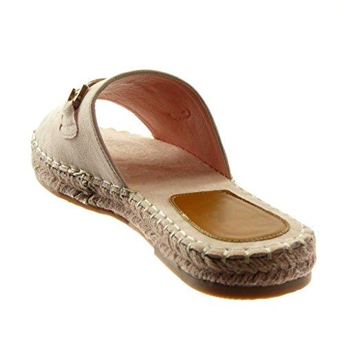 Angkorly Scarpe Moda Sandali Mules Slip-On Donna Gioielli Catena D'Oro Tacco a Blocco 2.5 cm Beige