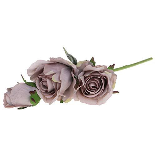 JimTw-FR La Soie Artificielle Bricolage 3 Têtes Roses Faux Bouquet Floral Chez Décoration Pour Noël Mariage Parti