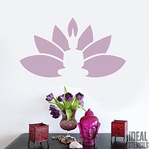 Buddha Lotus Blumen Schablonen wiederverwendbar Haus Wand Dekor , Kunst & Basteln Schablone Farbe Wände Stoffe & Möbel - halb geschliffen Durchsichtig Schablone, M/ 21X37cm (Blumen Die Für Schablonen Wand)