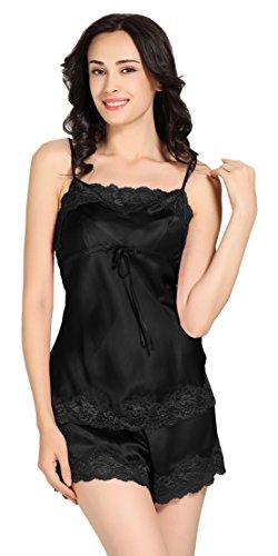 Pyjashort caraco 100% soie et dentelle pour femme - 100% Soie mûrier 22 momme Lilysilk Noir