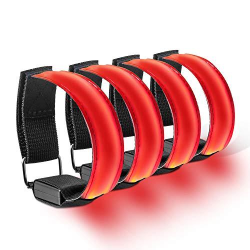 AJOXEL LED Bracciale,4 Pezzi Fascia da Braccio LED Alta visibilità Luce di Sicurezza, Fascia Catarifrangente Fascia Riflettente per Sport,Corsa Notturna,Jogging,Ciclismo (Rosso)
