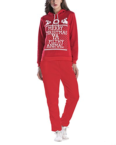 Damen Sportanzug Hausanzug Trainingsanzüge Sweatshirt 2 Stück Set Rot XL