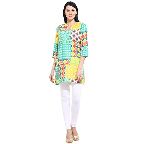Women'sV Neck Cotton Kurti Multi Colour with 3/4 Sleeves