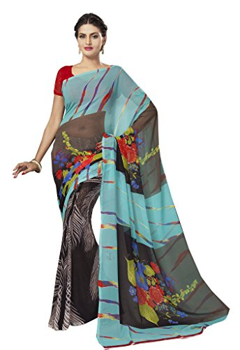 Ishin Faux Georgette Multicolor Printed Women's Saree.  available at amazon for Rs.299
