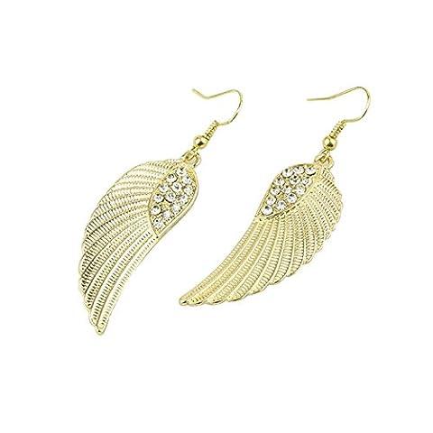 Boucles d'oreilles Clous et puces filles fantaisie Hot Femmes Mode Bijoux en strass Ailes d'ange Boucles d'oreilles- Or