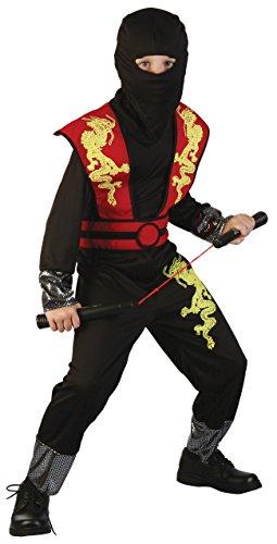 Magicoo Dragon Ninja Kostüm Kinder rot-schwarz - komplettes Ninja Kostüm für Kind Jungen Kinderfasching (122/128)
