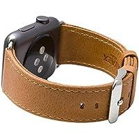 Cinturino per Apple Watch Serie 1 & 2, Ricambio del Cinturino in Vera Pelle Retro con Fibbia in Metallo della SVAEX, in 42 mm - Adattatori inclusi - Marrone chiaro
