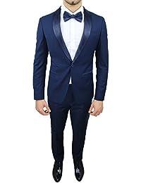Abito completo uomo sartoriale blu elegante tessuto raso nuovo slim fit aderente