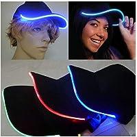 Gorra de béisbol ajustable con ribete de luces LED parpadeantes en la visera para ir de fiesta, hacer deporte, viajar, pasear, jugar al golf o bailar hip hop (Azul)