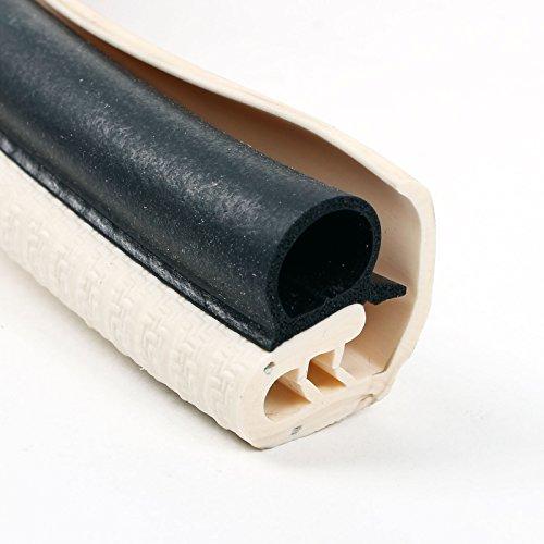 Preisvergleich Produktbild 1 Meter Türdichtung Kantenschutz mit langer Abdecklippe Elefenbein Metallkern für Einstiegstüren, Stauklappen oder Serviceklappen