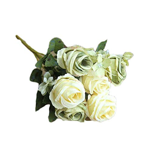 Zerama Artificial Flower 6 Heads Rose Bunch DIY Bridal Bouquet Photography Props Wedding Bedroom Living Room Fake Flower (Props Photography Diy)