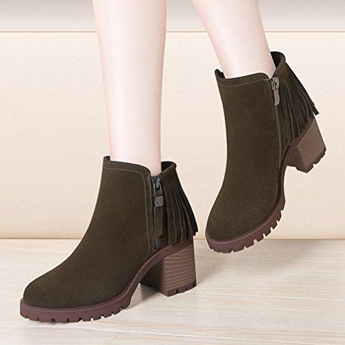 JRenok Femme Hiver Bottes Chelsea Chaud Talon Epais Boots Chaussure avec Talon Bloc 7 CM Vert