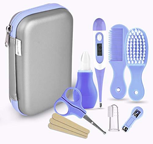 Babypflege Set, 8-teiliges Set für Baby Alltag Pflege Mit Baby Gesundheitswesen Kit mit Thermometer Nasensauger Pipette Feeder Nagel Haarpflegeset, Fingerzahnbürste Nasenpinzette (Blau) -