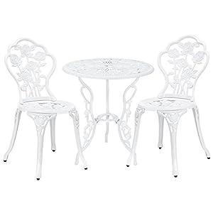 [casa.pro]®] Gartentisch/Bistro-Tisch 60cm, rund, weiß mit 2 Stühlen - Französische Gartenmöbel im Antik-Look für Balkon/Terrasse - Bistro-Set wetterbeständig, Gusseisen-Metall als Gartendeko