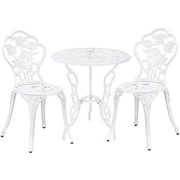 casa.pro] Gartentisch / Bistro-Tisch 60cm, rund, weiß mit 2 Stühlen ...