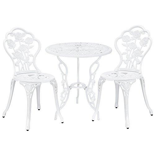[casa.pro]®] Gartentisch/Bistro-Tisch 60cm, rund, weiß mit 2 Stühlen - Französische Gartenmöbel im Antik-Look für Balkon/Terrasse - Bistro-Set wetterbeständig, Gusseisen-Metall als Gartendeko (Runder Stühlen Kaffee Mit Tisch)