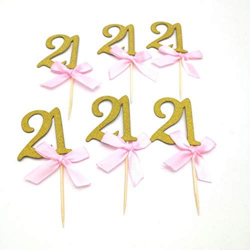 DooXoo Lovely Heart Birthday cupcaketoppers Kuchendekoration, , Gold Pink,