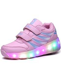 Kinder Schuhe mit 2 Rollen Skateboard Schuhe Jungen Mädchen Schuhe mit Rollen Kinder Rolleschuhe mit LED Sportschuhe Turnschuhe Sneaker mit Rollen Kinder Jungen Mädchen