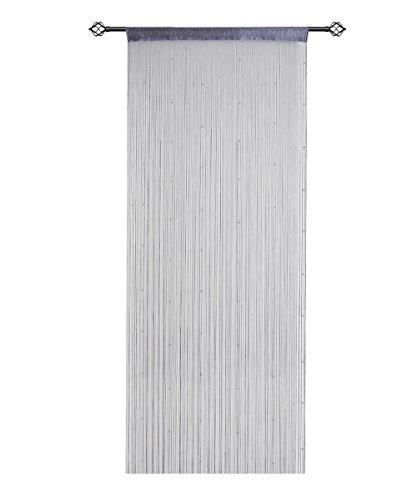 HSYLYM String Vorhänge für Türen Panel Pearl Beads Dichte Polyester Fringe Tassel Perlen Vorhänge (90x200cm, Grau)