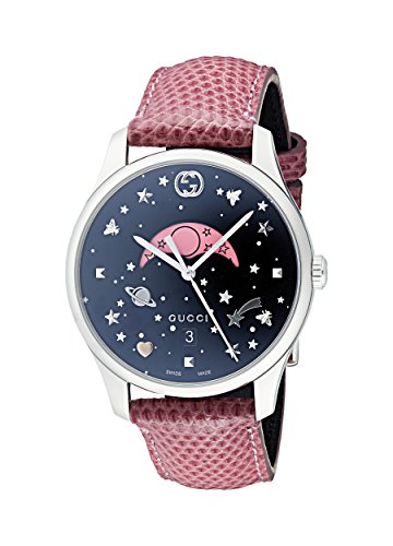 Gucci Womens Moon Phase Quartz Watch with Leather Strap YA1264046
