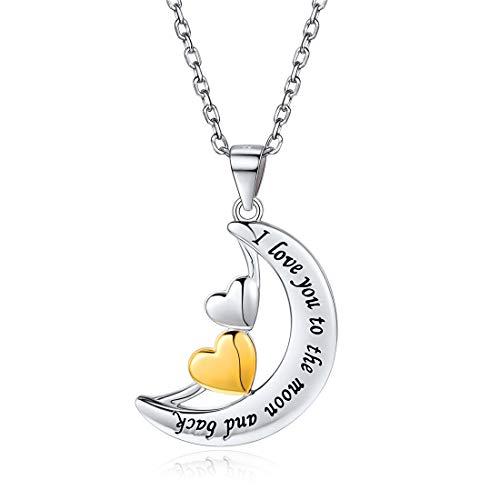 ChicSilver Corazones y Luna Plata de Ley 925 Chapado en Platino/Oro Collar para Mujeres Joyería Romántica con Letras Grabadas I Love You to The Moon and Back
