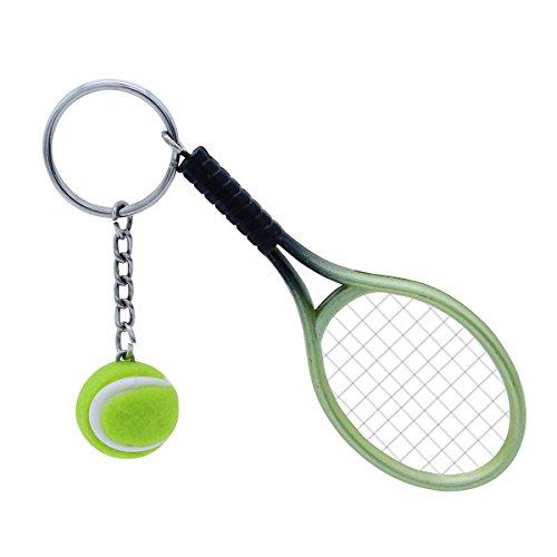 TOYMYTOY Tennis Schläger Keychain, grüner Sport Schlüsselring der Neuheit, Mini Tennisball Anhänger Geschenke - Es Mini-anhänger