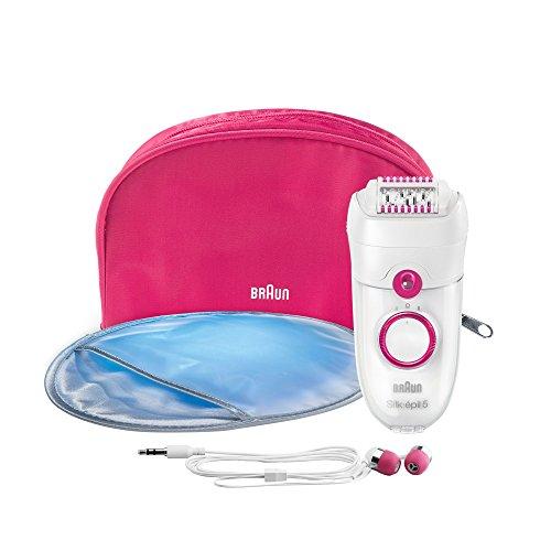 Braun Silk-épil 5 Power Epilierer 5187, Premium Pack mit Kopfhörer, weiß/himbeere