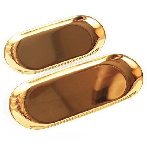 Gudelaa 1 Stücke Gold Oval Platte Schmuck Lagerung Kleine Tray Edelstahl Snack Tray Metall Ablagefach Nordischen Stil 180 * 80mm Platte Oval Tray
