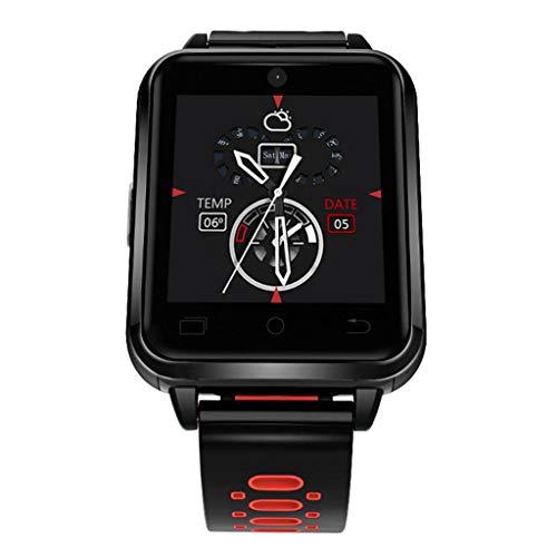 FANZIFAN Reloj Inteligente 4G Reloj Inteligente Android 6.0 MTK6737 1GB / 8GB SmartWatch Teléfono Heart Rate Sim Card Support reemplace la Correa Reloj Inteligente, Rojo