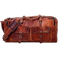 24 Inches Handmade Genuine Vintage Leather Large Travelling Duffel Weekend Bag