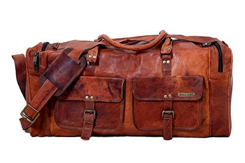 JERRYLEATHER 24 Zoll handgemachte echte Vintage Leder große Reisen Duffel Weekend Bag