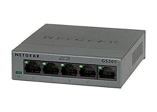NETGEAR 5-Port Gigabit Ethernet Unmanaged Switch, Desktop, Internet Splitter, Sturdy Metal, Fanless, Plug-and-Play (GS305)