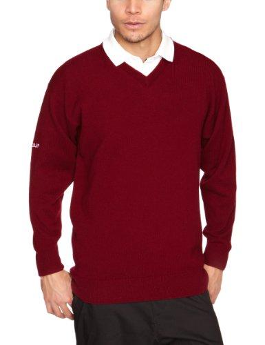 Pro Quip, Maglione in lana d'agnello, impermeabile, con scollo a V, Uomo nero - bordeaux