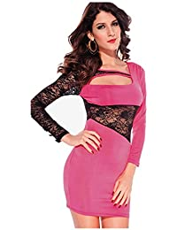 Ostenx Damen Langärmelige Splice Nightclub mini Spitze Kleid