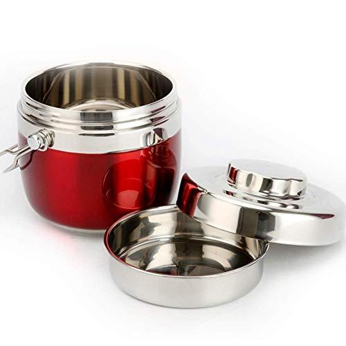 Lunch Box Isolierte Thermische Lebensmittelflasche, Tragbarer Edelstahl, Kreative Student Lunchbox für Suppe, Fleisch, Krepp, 1.5L,Red