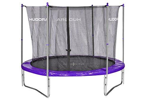 HUDORA Fun/Fitness Trampolin 300 cm, lila/grau - Hochwertiges Garten-Trampolin mit Sicherheitsnetz und Randabdeckung