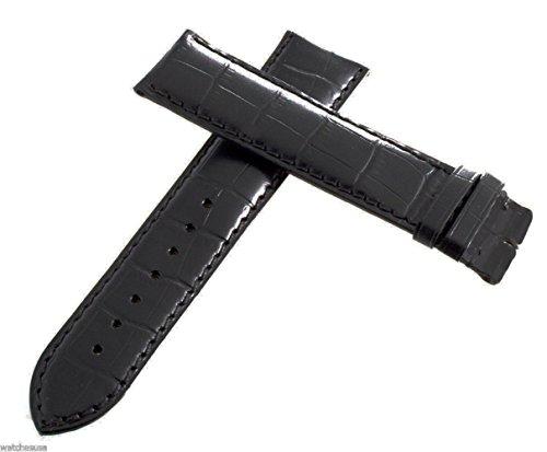 Longines nero genuino pelle Watch dorato fibbia 22mm x 20mm
