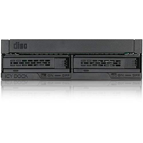 ICY DOCK ExpressCage MB732SPO-B - Wechselrahmen für (Ultra) Slim ODD & 2X 2,5 Zoll (6,4cm) SATA/SAS SSD/HDD