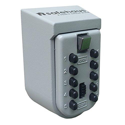 Safehaus - Caja de seguridad para llaves, de metal, con montaje en pared y botones, color gris