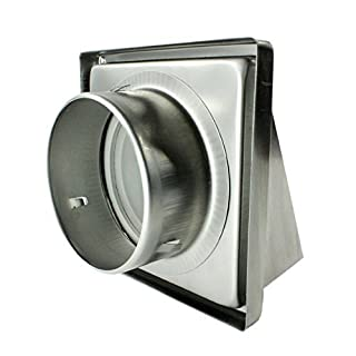 Spares2go Stainless Steel Cowled External Extractor Wall Vent Outlet with Cushioned Non Return Flap (125mm, 5