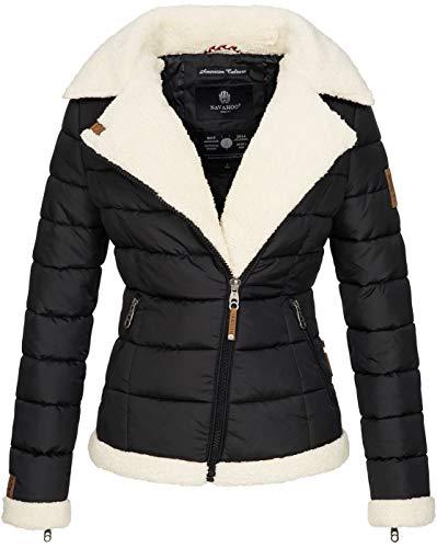 Navahoo Damen Designer Winter Jacke warme Winterjacke Steppjacke Teddyfell B652 [B652-Smooth-Schwarz-Gr.M]