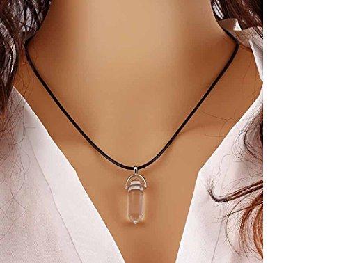 ILOVEDIY Chakra-Anhänger Halskette Edelstein Herz Healing Reiki Hexagon Säulen Anhänger Pandent (Klar)