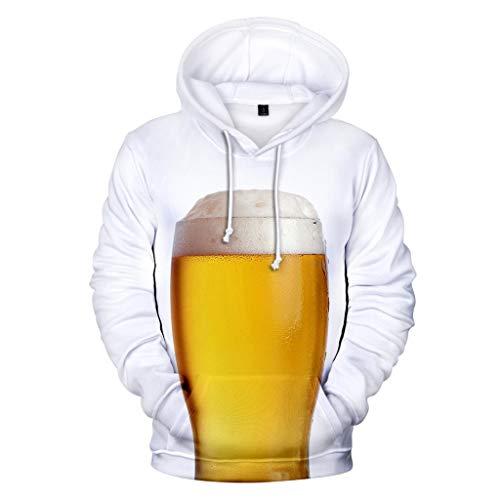 POTOU Herren Kapuzenpullover Bier Festival Theme Sweatshirt mit Kapuze Herren Beer Festival 3D Druck Langarm Hoodies Tops M-XXXXL Bier-zip Hoodie
