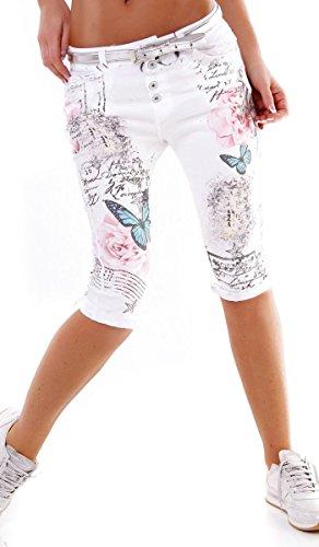Chino Capri-Hose mit süssen Butterfly- und Schriftzug-Prints in weiß / pink Größe XL (Capri-hosen Butterfly)