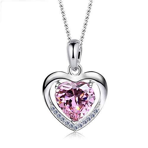 ANGRIZIJUN Frauen Halskette 925 Sterling Silber mit Kristall Herz Anhänger mit Kubikzircon Diamanten Valentinstag für Tochter Mutter Frau Freundin,Pink - Diamant-logo-t-shirt