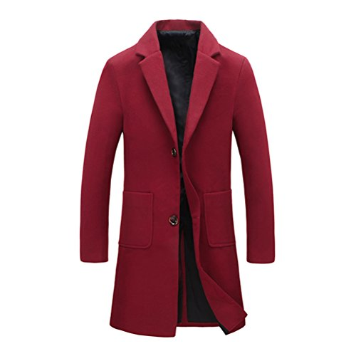 Zhhlaixing Classique Mens Business Coats Outerwear Warm Long Sleeve Jackets red