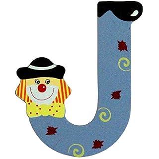 Holzbuchstaben und Zahlen- Clowns - mit Klebepad in zufälliger Farbe - Rimini Baustoffe® - Ideal für Türen und Schränke (Buchstabe J)
