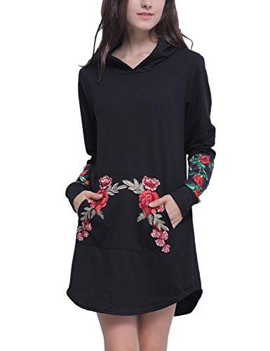 Rosen Langes Kleid (Blooming Jelly Frauen Jumper Gestickte Blumendruck Patchwork Rose Pullover Känguru Taschen Umschalt Beiläufige Lange Ärmel Minikleid Frauen T Shirt Kleid)